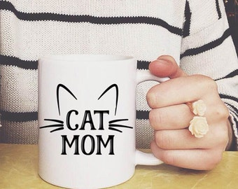 Cat Mug, Cat Mom Mug, Cat Mom gifts, Cat mom coffee cup, Funny Cat gifts, cat rescue parent, Mother's day gift, Cat Cup, Gifts for Her