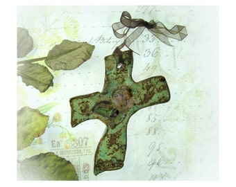 Ceramic cross - Wall Hanging Cross,  Cross for Wall,  Decorated Art Wall Cross, house warming gift,           #41