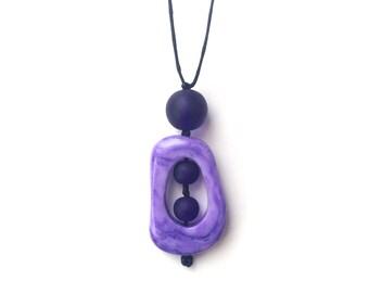Resin Nursing Necklace/ Breastfeeding Necklace - Purple Twiddle Buster