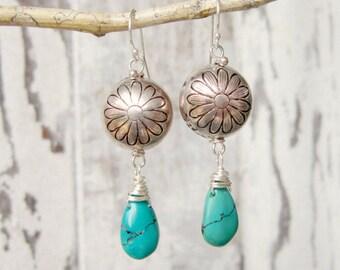 Genuine Turquoise Earrings.Semi Precious Stone Dangle Earring.Turquoise Jewelry.Green Turquoise Dangle Earrings.Silver Wire Wrapped Earrings