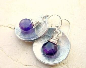 Amethyst Earrings. Sterling Silver Hammered Earrings. Genuine Amethyst Dangle Earrings. Amethyst Jewelry. February Birthstone Jewelry