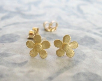 14k Solid gold flower stud earrings , Small flower studs , Brushed matt gold flower post earrings , Handmade by Adi Yesod