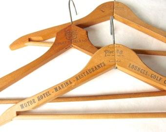 Vintage Wooden Clothes Hangers - Pier 66 - Fort Lauderdale Florida - Three Wooden Hotel Clothing Hangers - Knott - Epply - Advertisement
