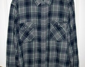 Vintage Men's Blue & Gray Plaid Flannel Shirt by Arizona Jean Co Extra Large Only 7 USD