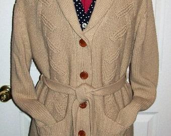 Vintage '70s Ladies Tan Cardigan Sweater Size 44 Granny Hippie Boho Only 10 USD