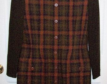 Vintage Ladies Brown Plaid Dress by Kasper ASL Size 8 Only 7 USD