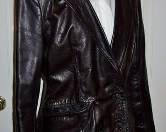 Vintage Ladies Black Leather Blazer Jacket by GANDALF Size 15 Mod Only 125 USD