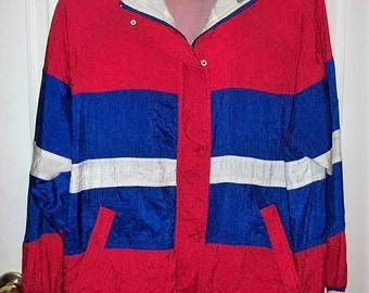 Vintage '90s Red White & Blue Windbreaker Olympic Jacket by JC Penney Small Only 12 USD