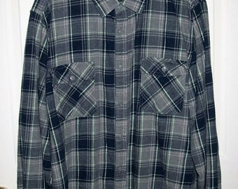 Vintage Men's Blue & Gray Plaid Flannel Shirt by Arizona Jean Co Extra Large Only 8 USD