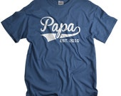 Papa Shirt - Custom Fathers Day Gifts - Papa EST Tshirt for Father