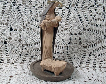 Vintage Madonna with Child Figurine Mod Depose Italy Brown and Creme