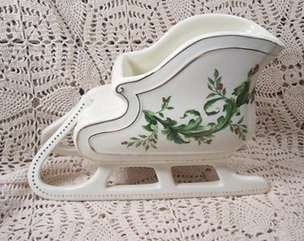 Vintage Winter White FTD Sleigh with Holly and Gold Accents