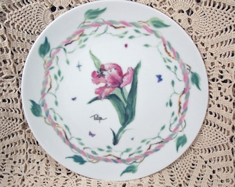 1995 Winterthur Enesco TULIP Plate Pinks with Butterflies MINT