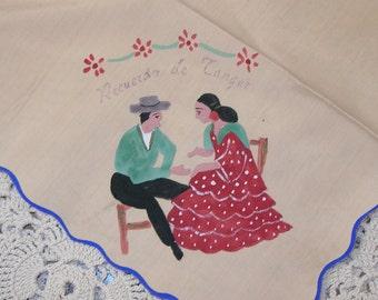 Vintage Handpainted Spanish Couple Hanky Recuerdo de Tanger Morocco HANKY