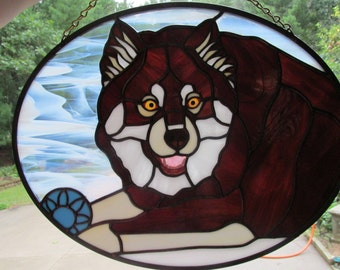 Custom Stained Glass Dog Juuso Commission