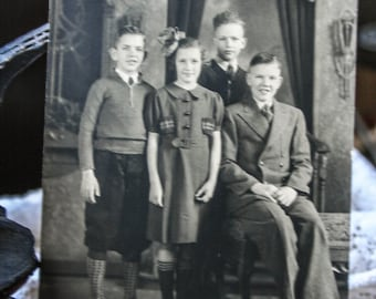 Photograph Antique, Professional Formal Pose of Four Children