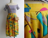 Vintage 80's Abstract Art Splatter Multicolored Yellow Pleated Skirt XS S M