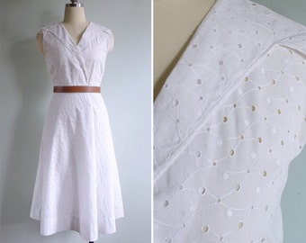 Vintage 50's 'Whisper Eyelet You' White Embroidered Sailor Collar Dress XS or S