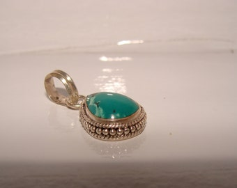 Pendant inTurquoise & Sterling Silver, Vacation Charm, Memento of a Tour
