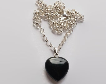 Heart Onyx Pendant Necklace / Onyx Heart Necklace / Valentine's Necklace / Valentine Heart Necklace  / Sterling Silver necklace