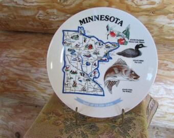 Vntg Minnesota Souvenir Plate