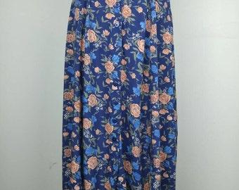 90s navy peach rose floral midi skirt Small
