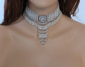 Victorian Choker Necklace, Beaded Crystal Pearl Bridal Choker, Handmade Elegant Wedding Jewelry, Special Occasion Jewelry