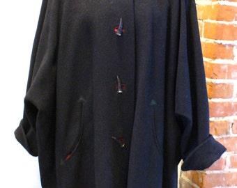 Vintage Echter Loden Austrian Batwing Sleeve Coat Size 12 US