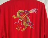 Embroidered Dragon ~ Vintage RED Kimono ~ Belted ~ Short ~ Boho Chic ~ Asian ~ Chinese ~ Front Pockets