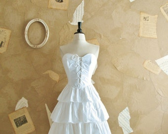 Vintage 1970s White Cotton Lace Up Corset Bodice Dress -Hopeless Romantic-