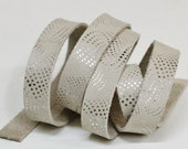 15 mm  Beige and Silver Genuine Leather Strap, 1 Yard