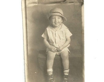 Chubby Knees - Vintage Photo - Cute Little Boy - Straw Hat - Happy Child - Small Photo - Vintage Snapshot