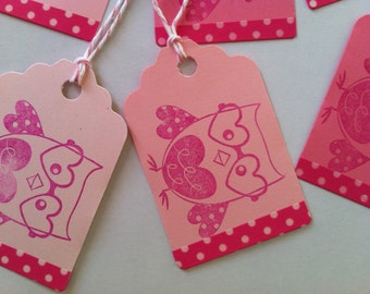 Valentine Owl Tag, Owl Gift Tag, Owl Embellishment, Nerdy Valentine, Hand Stamped Die Cut Hang Tags 6 pc Valentine's Day Tag