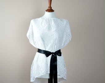 White lace top, lace blouse, tunic top, womens tshirt, ruffle top, lace tunic, white lace tunic, lace tshirt