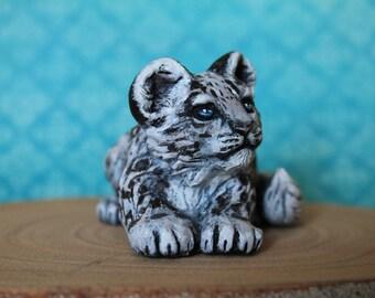 Snow leopard kitten MADE to ORDER Ooak polymer clay sculpture Art doll Miniature Spirit animal figurine Handmade figure Totem