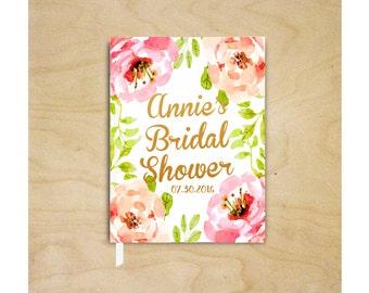 Bridal Shower Guest Book Wedding Guest Book Wedding Guestbook Pink Floral Guest Book Wedding Keepsake Bridal Shower Gift Engagement Book