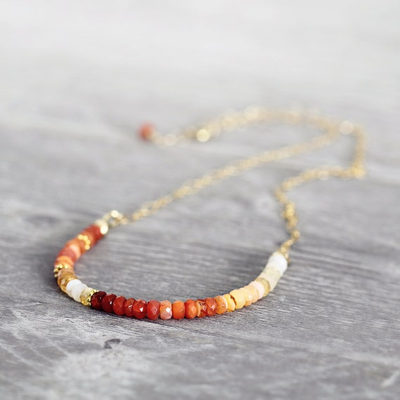 Fire Opal Necklace - Ombre Gemstone Necklace