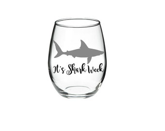 Shark - Shark Wine Glass - It's Shark Week 21 oz Stemless Wine Glass