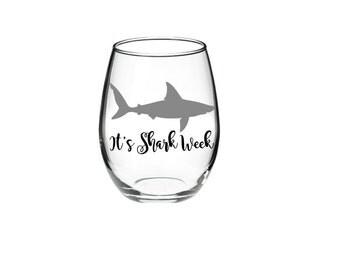 Shark - Shark Wine Glass - It's Shark Week 21 oz Stemless Wine Glass