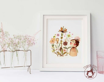 Mes Fleurs - Girl and Garden - Girl and Flowers - Nursery Decor - whimsical nursery wall art - baby decor - whimsical baby girl art