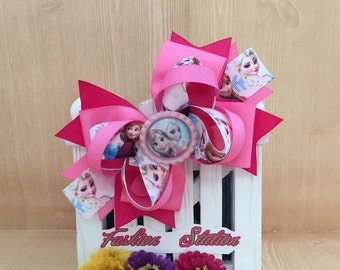 Pink Frozen Hair Bow ~ Cute bow for babies, toddlers and big girls ~ Bow measures approximately 5.5 inches