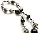 Black Beaded Necklace, Statement, Big Bead, Handmade, Chunky, OOAK