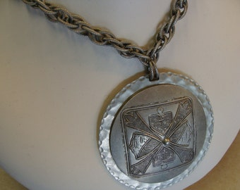 MEDIEVAL MEDALLION NECKLACE 1990's repro statement