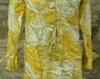 YELLOW RUFFLE neckline DRESS shift vintage 1960's 1970's S