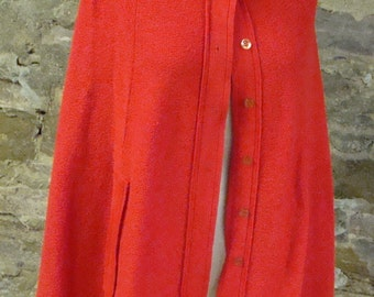 SWEETREE RED PONCHO acrylic vintage cape sweater S M