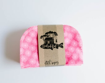 Baby Wipes Cloth Wipes Set of 20 - Baby Wipes - Reusable Flannel Wipes - Pink Print