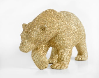 Extra Large Polar Bear Gold Glitter Critter. Winter Wedding Decor Sparkly Table Centerpiece or Baby / Bridal Shower Decoration Nursery Decor
