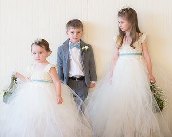 Dahlia Lace and Tulle Flower Girl Dress