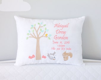 Personalized Baby Pillow, Woodland Theme Embroidered Decorative Pillow, Heirloom Baby Gift