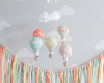 Fabric Banner in Aqua, Coral, Mint, Yellow and Pink Fabrics, Fabric Garland, Baby Shower Decor, FB2